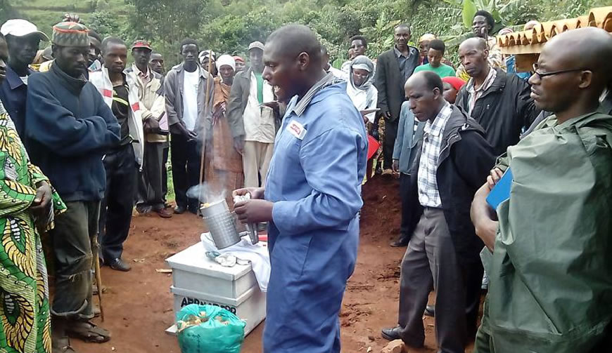 Burundi NDF and partners delivered and coached beneficiaries on how to use Beekeeping materials/ Photo BNDF