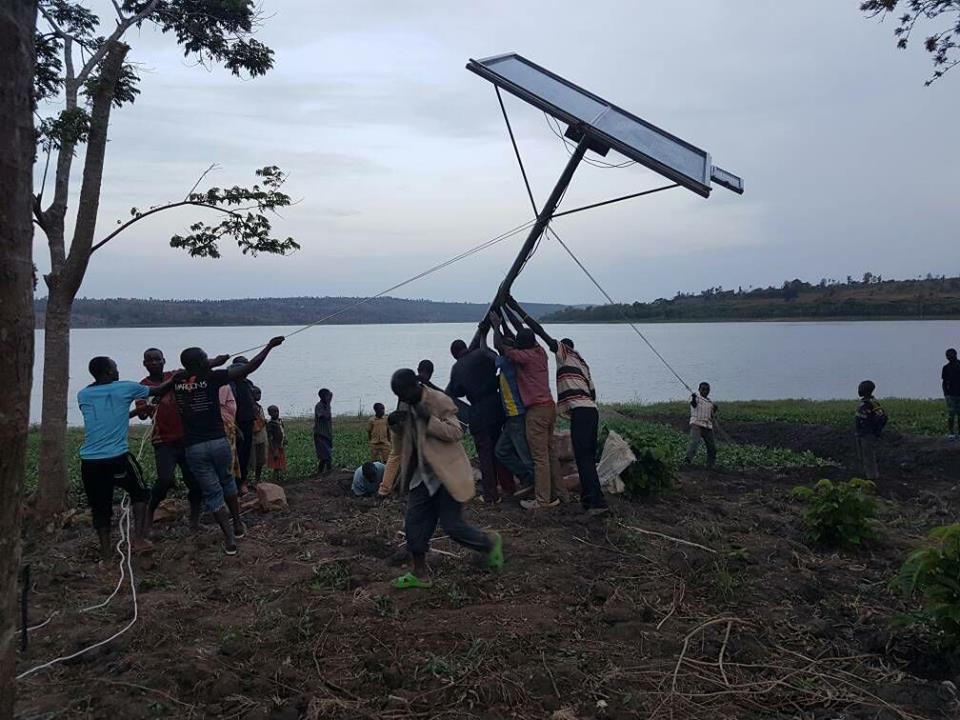 Project implementation time; a solar irrigation system being installed near a water body to facilitate crop irrigation
